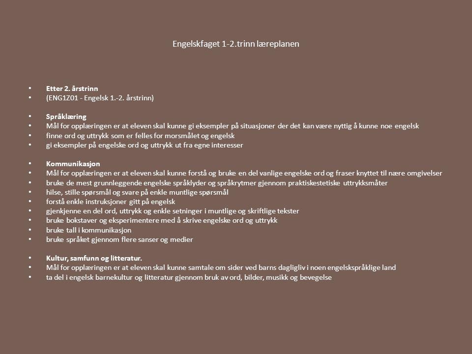 Engelskfaget 1-2.trinn læreplanen