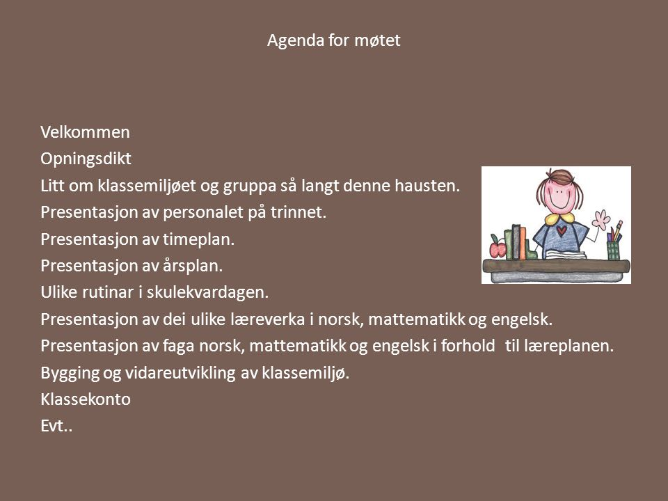 Agenda for møtet