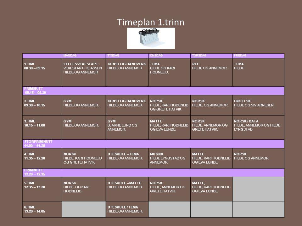 Timeplan 1.trinn 1.TIME 08.30 – 09.15 FELLES VEKESTART.