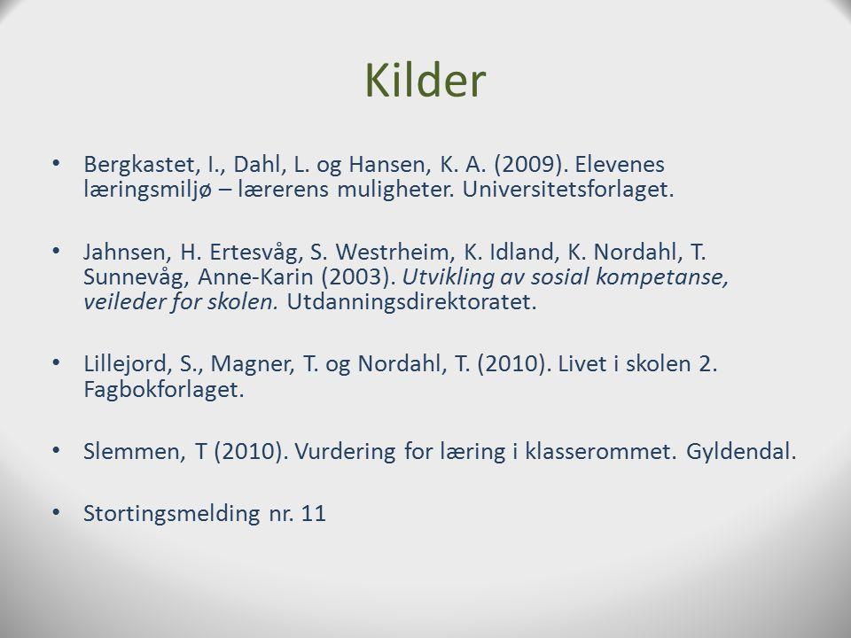 Kilder Bergkastet, I., Dahl, L. og Hansen, K. A. (2009). Elevenes læringsmiljø – lærerens muligheter. Universitetsforlaget.