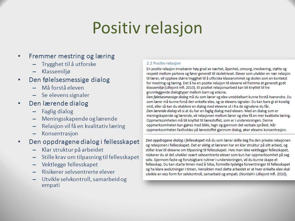 Positiv relasjon Fremmer mestring og læring Den følelsesmessige dialog