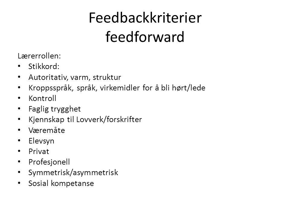 Feedbackkriterier feedforward