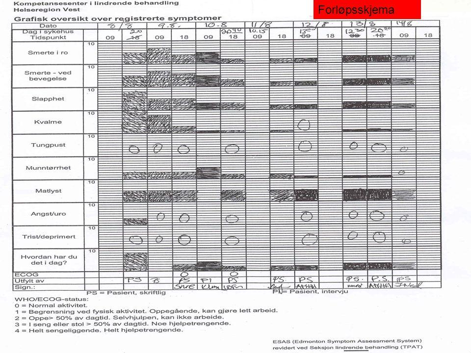 Forløpsskjema Skjemaet er enkelt og raskt i bruk, og resultatene lette å tolke.