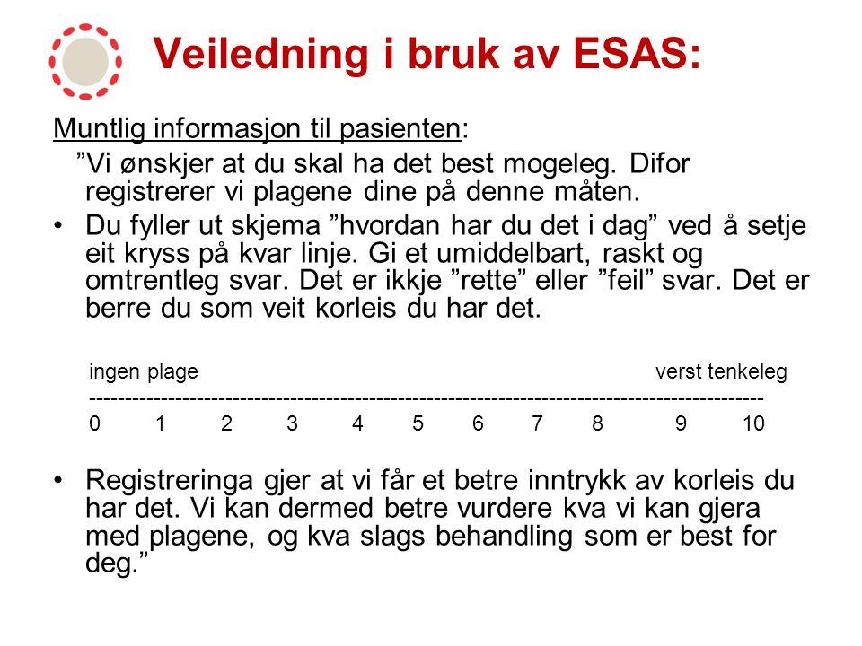 Veiledning i bruk av ESAS: