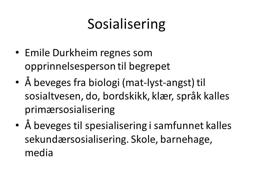 Sosialisering Emile Durkheim regnes som opprinnelsesperson til begrepet.