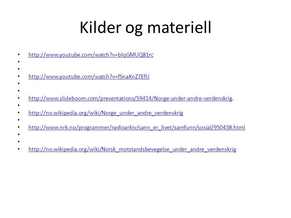 Kilder og materiell http://www.youtube.com/watch v=bIqGMUQ81rc