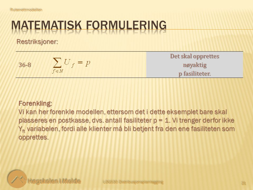 MATEMATISK FORMULERING