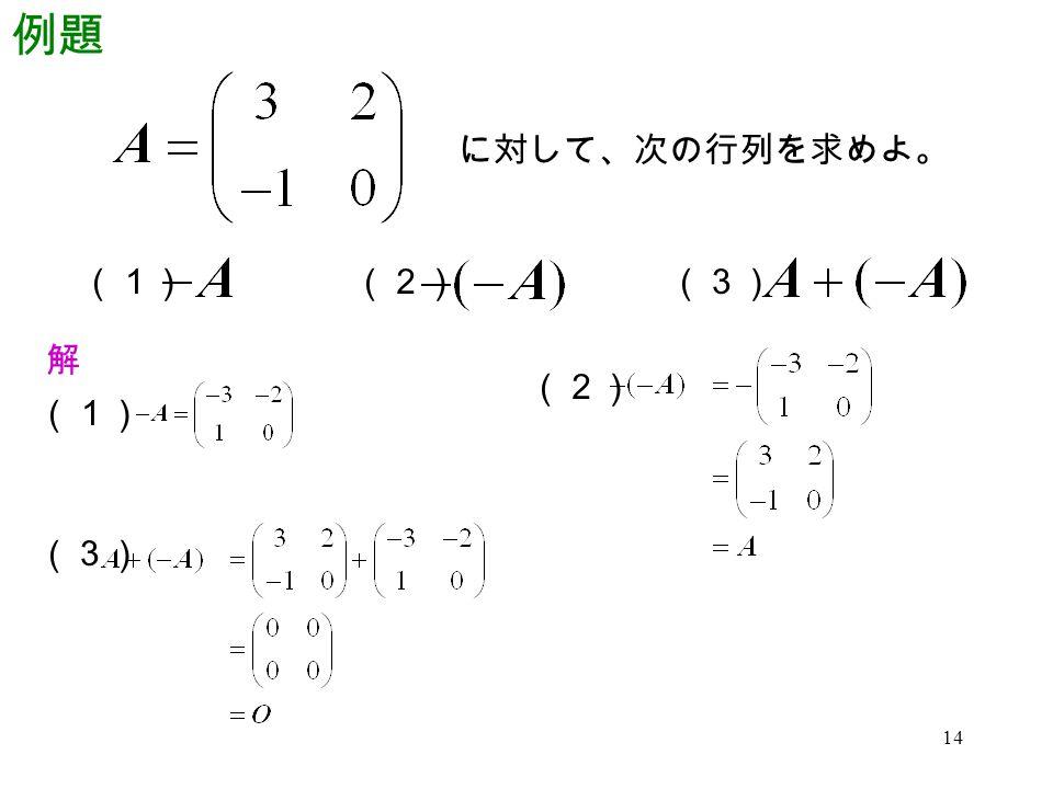 例題 に対して、次の行列を求めよ。 (1) (2) (3) 解 (2) (1) (3)