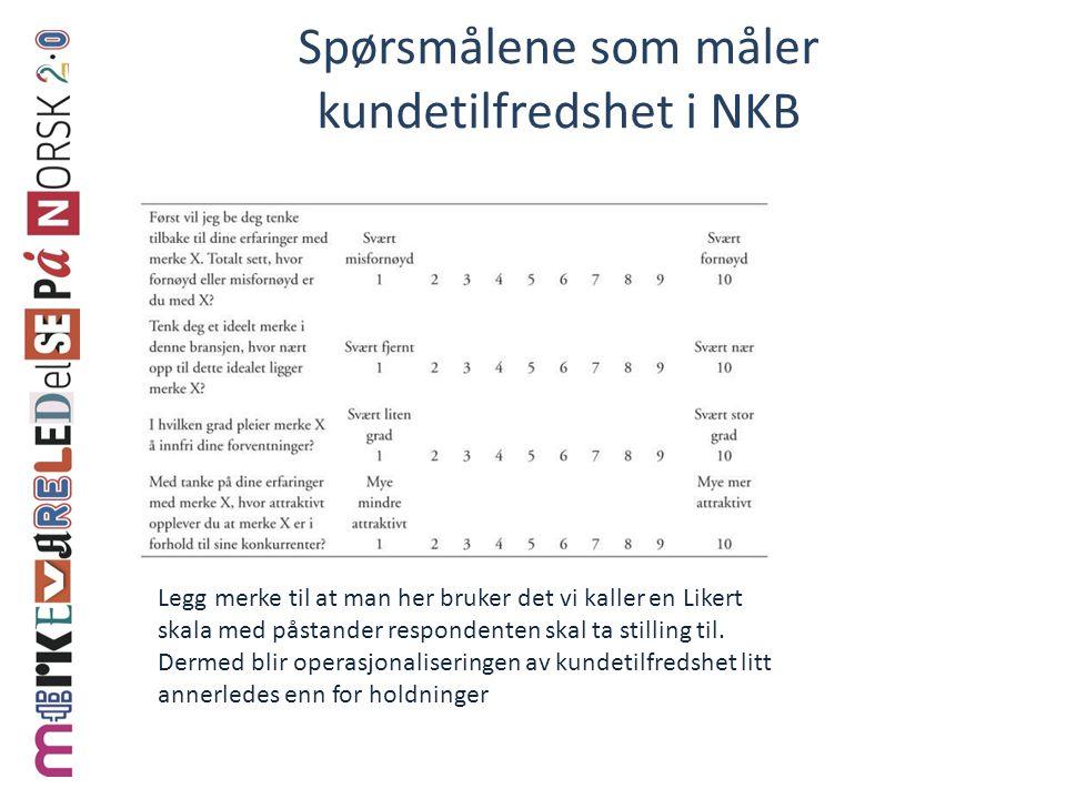 Spørsmålene som måler kundetilfredshet i NKB