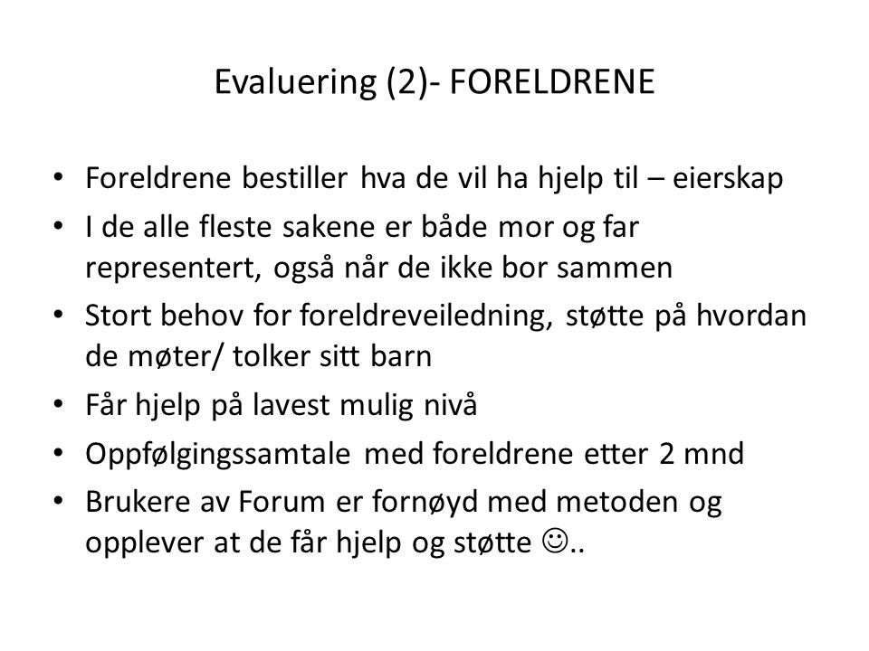 Evaluering (2)- FORELDRENE