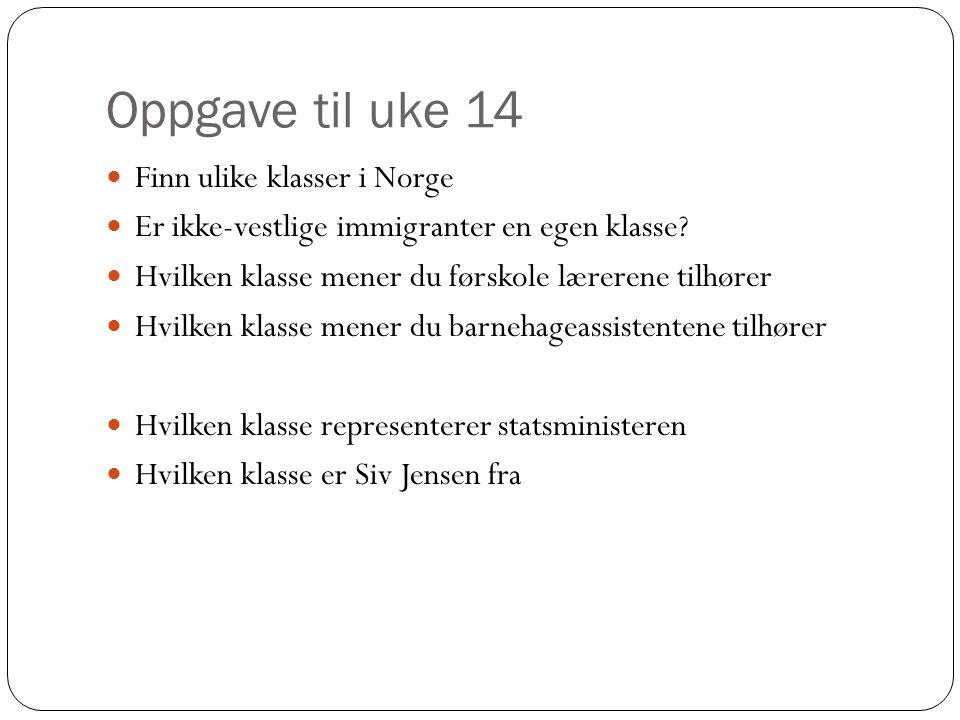 Oppgave til uke 14 Finn ulike klasser i Norge