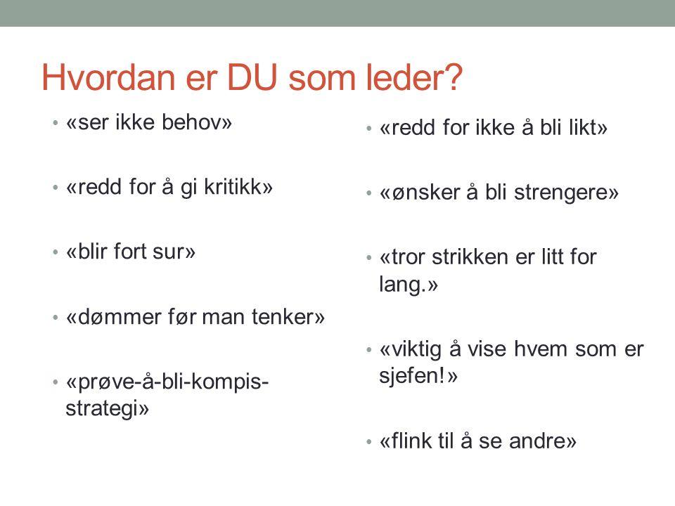 Hvordan er DU som leder «ser ikke behov» «redd for ikke å bli likt»