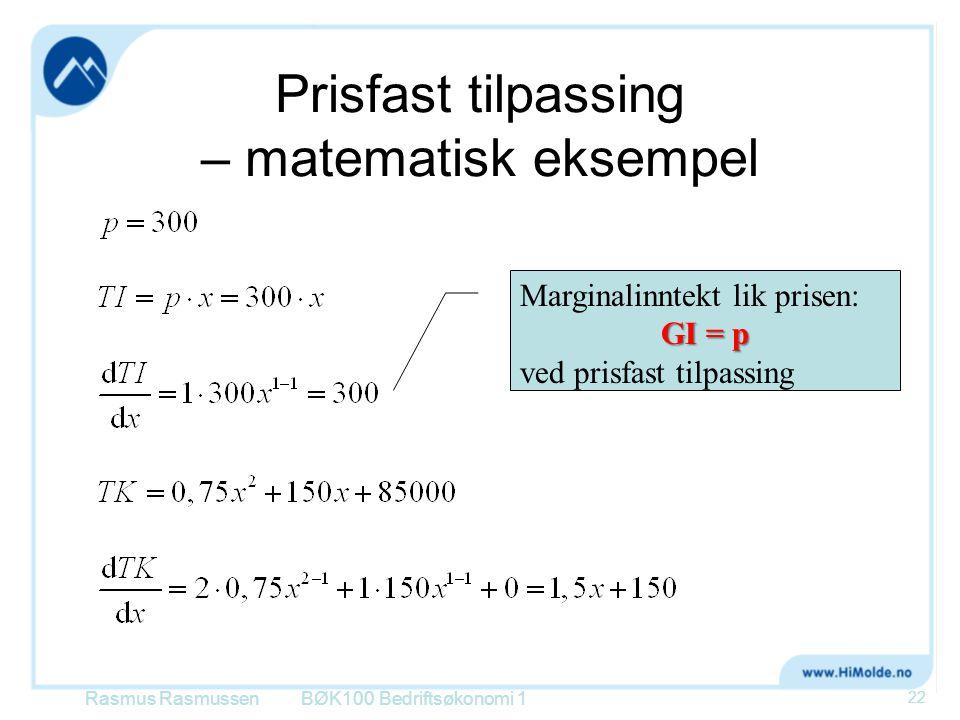 Prisfast tilpassing – matematisk eksempel
