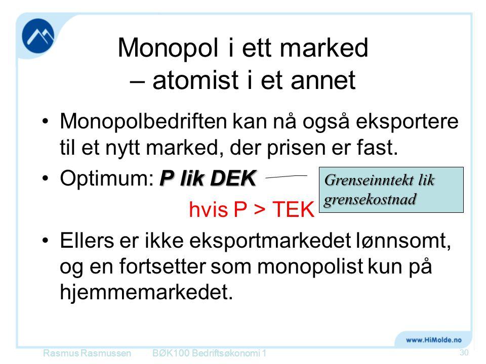 Monopol i ett marked – atomist i et annet