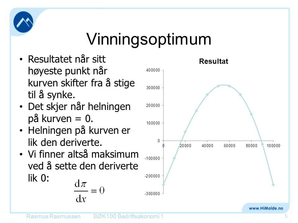 Vinningsoptimum Resultatet når sitt høyeste punkt når kurven skifter fra å stige til å synke. Det skjer når helningen på kurven = 0.