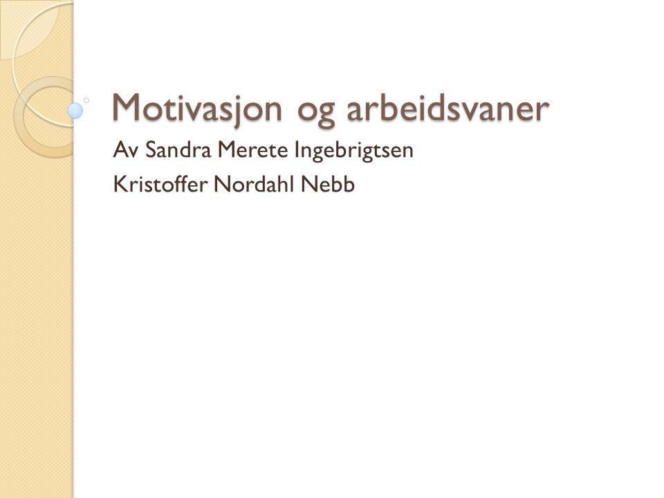 Motivasjon og arbeidsvaner