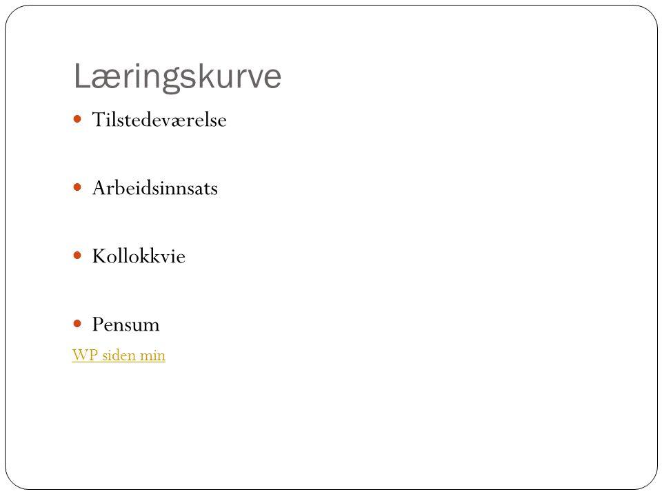 Læringskurve Tilstedeværelse Arbeidsinnsats Kollokkvie Pensum