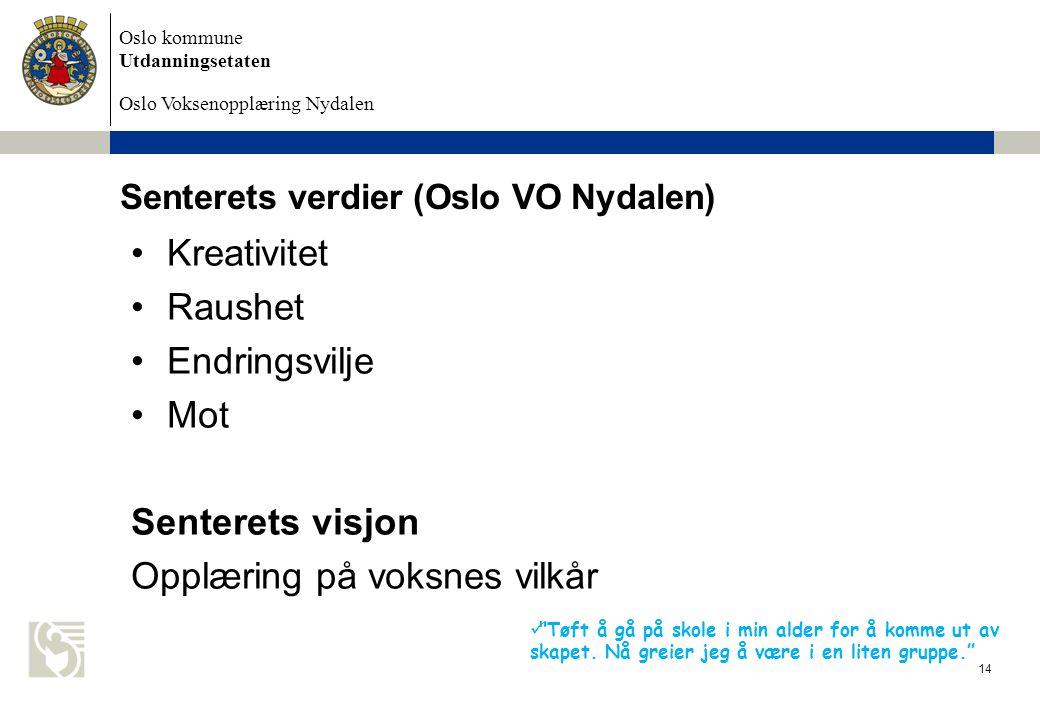 Senterets verdier (Oslo VO Nydalen)