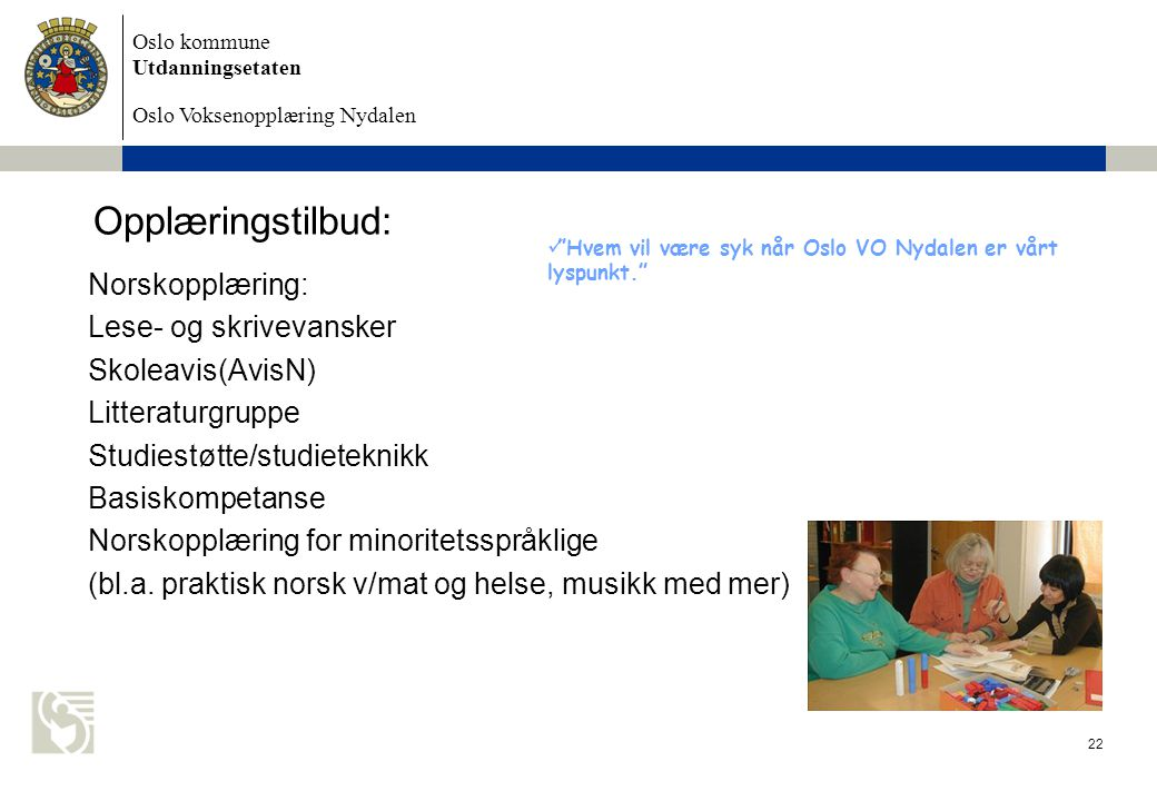 Opplæringstilbud: Norskopplæring: Lese- og skrivevansker