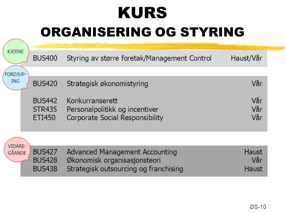 KURS ORGANISERING OG STYRING