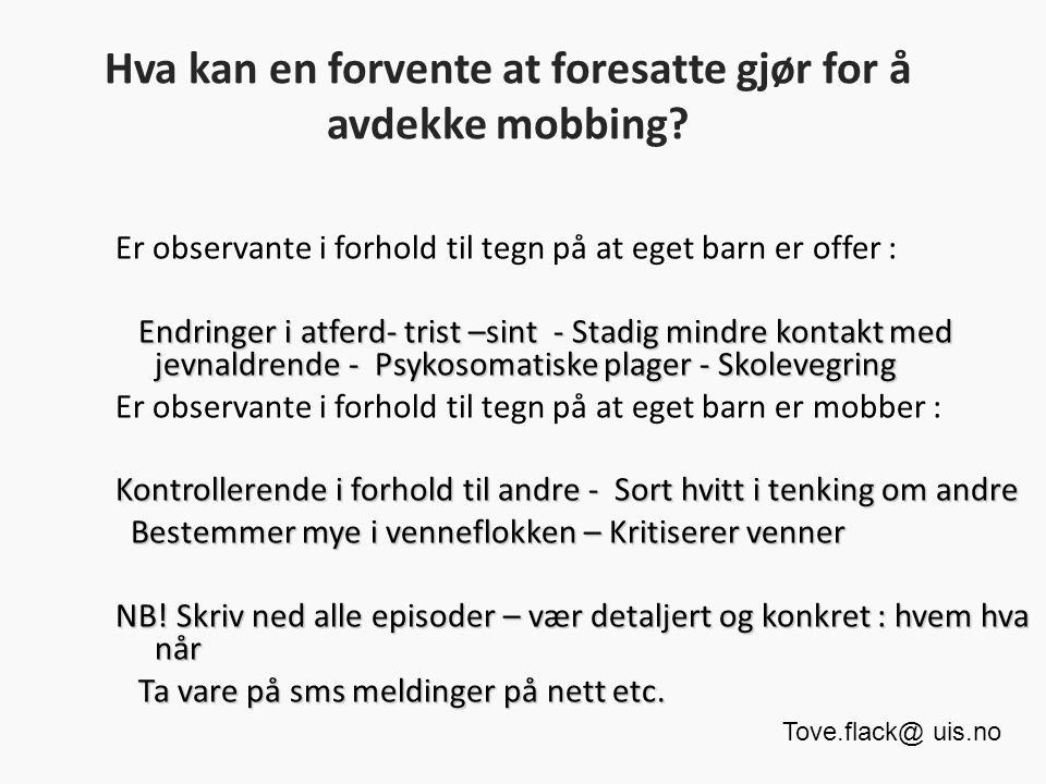 Hva kan en forvente at foresatte gjør for å avdekke mobbing