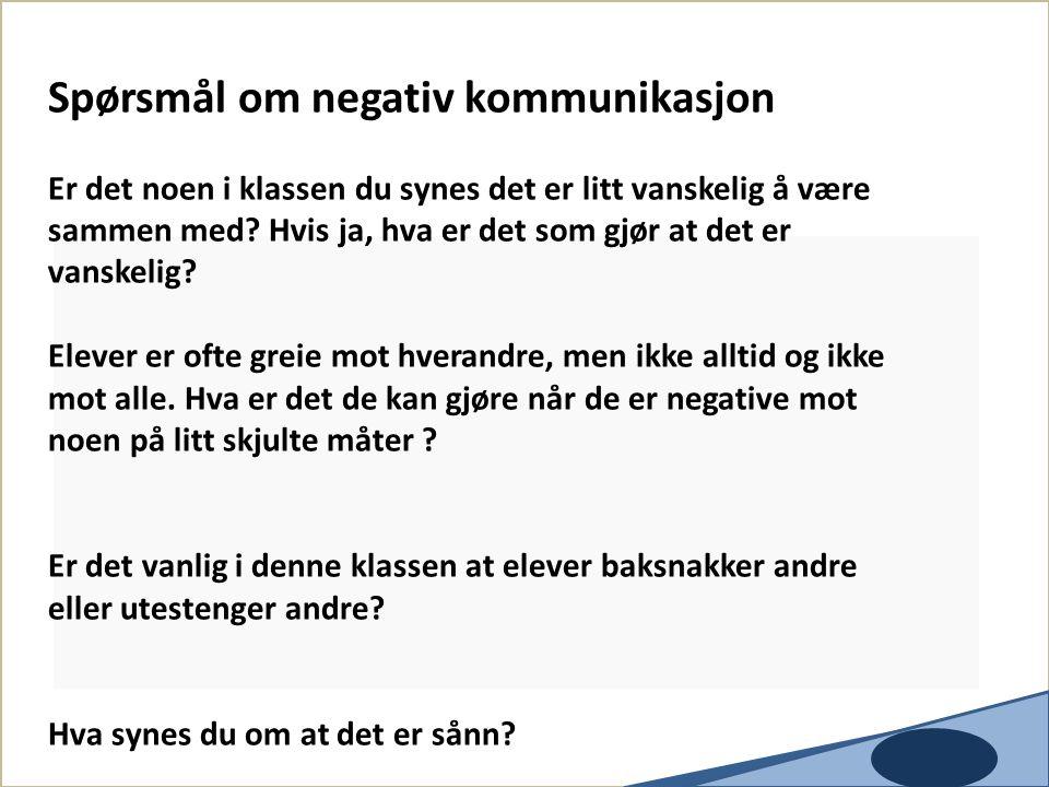 Spørsmål om negativ kommunikasjon