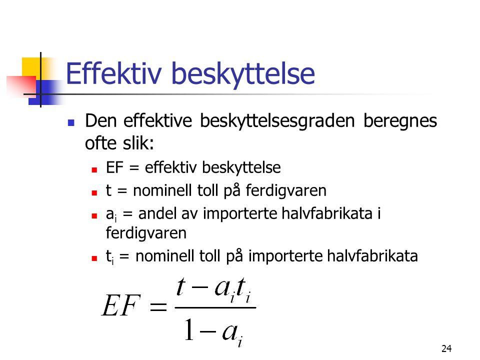 Effektiv beskyttelse Den effektive beskyttelsesgraden beregnes ofte slik: EF = effektiv beskyttelse.
