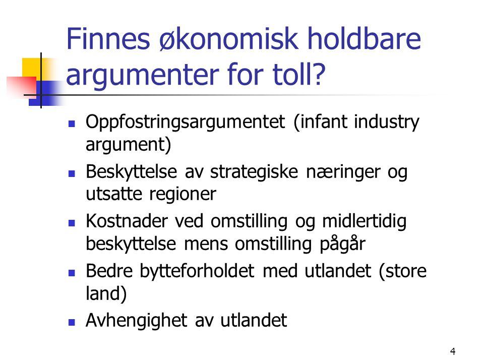 Finnes økonomisk holdbare argumenter for toll