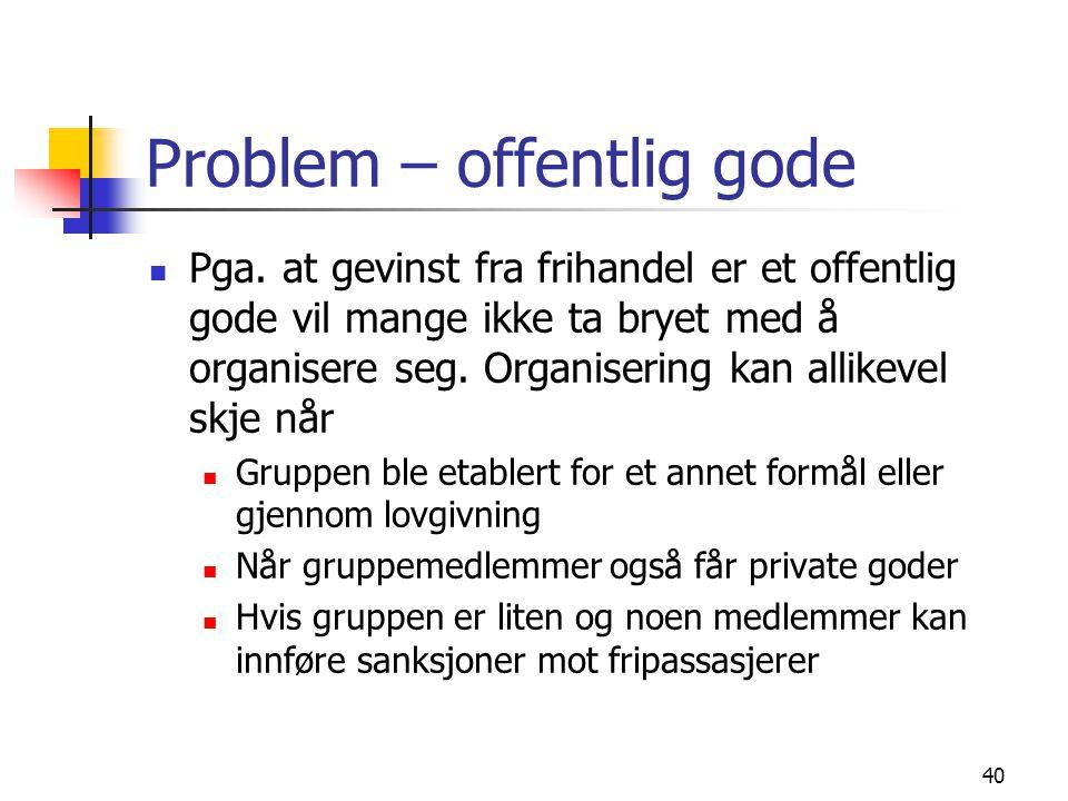 Problem – offentlig gode