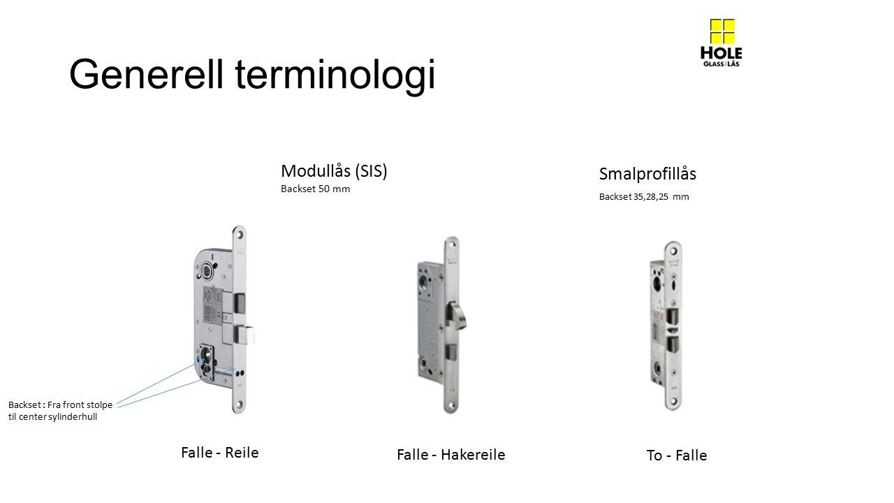 Generell terminologi Modullås (SIS) Smalprofillås Falle - Reile