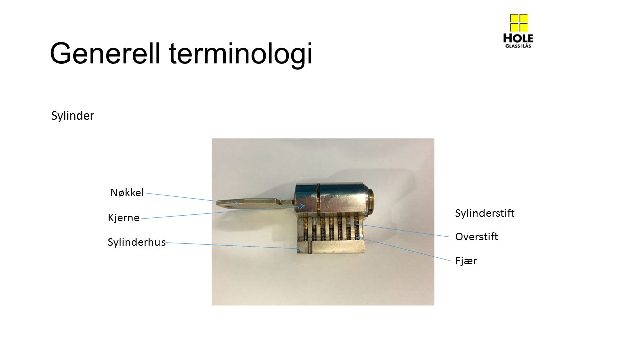 Generell terminologi Sylinder Nøkkel Sylinderstift Kjerne Overstift