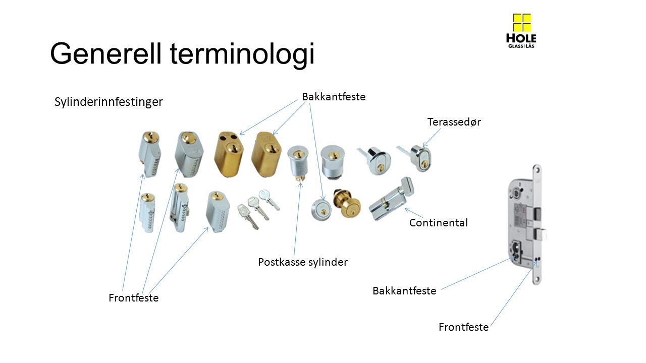 Generell terminologi Sylinderinnfestinger Bakkantfeste Terassedør