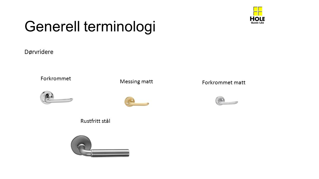 Generell terminologi Dørvridere Forkrommet Messing matt