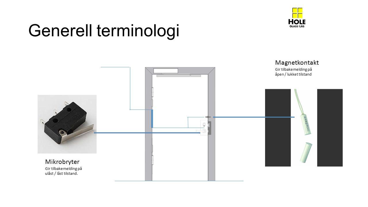 Generell terminologi Magnetkontakt Mikrobryter Gir tilbakemelding på