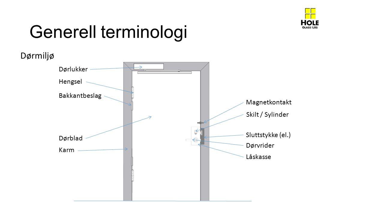 Generell terminologi Dørmiljø Dørlukker Hengsel Bakkantbeslag