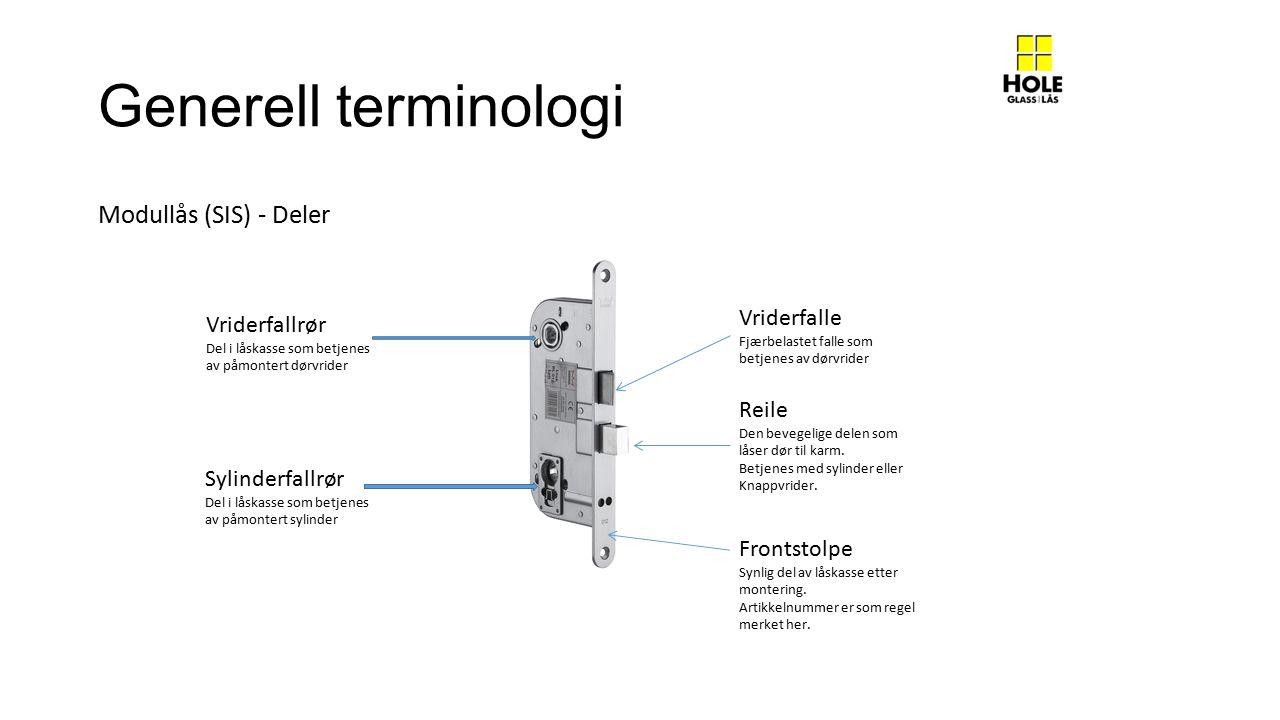Generell terminologi Modullås (SIS) - Deler Vriderfalle Vriderfallrør