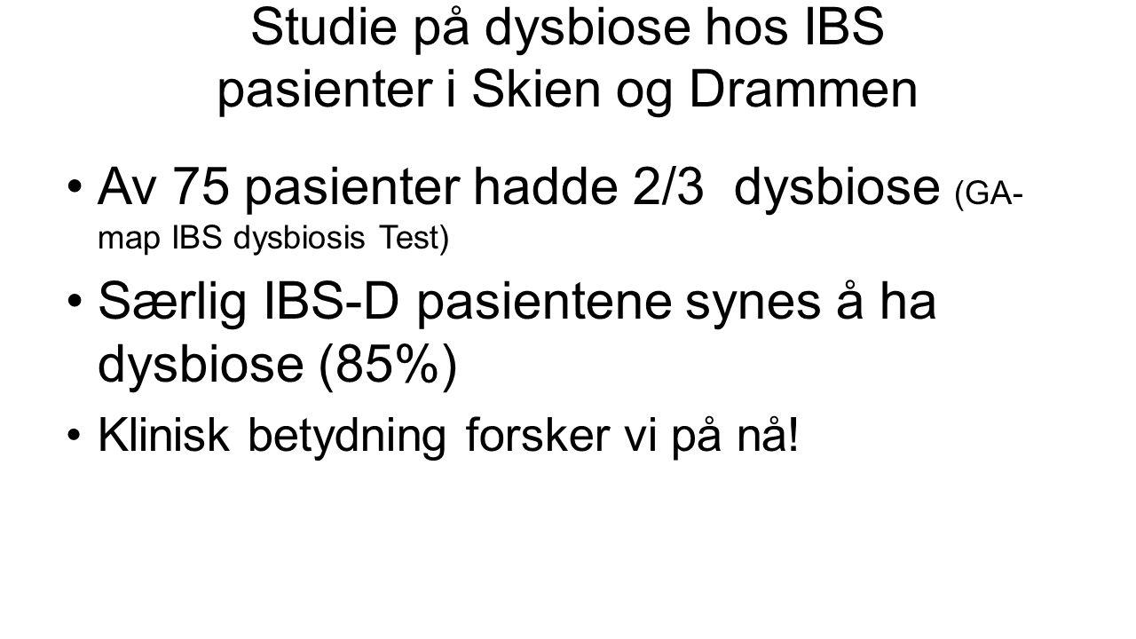 Studie på dysbiose hos IBS pasienter i Skien og Drammen