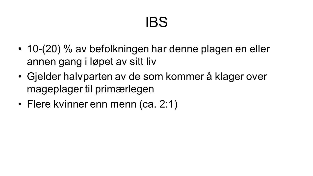 IBS 10-(20) % av befolkningen har denne plagen en eller annen gang i løpet av sitt liv.
