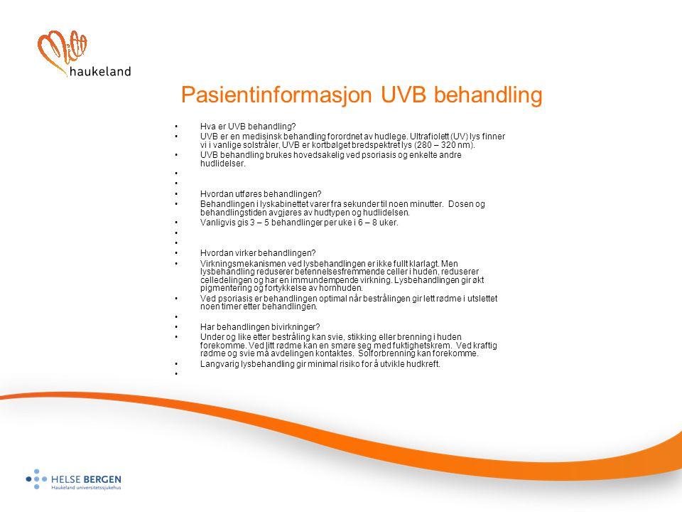 Pasientinformasjon UVB behandling