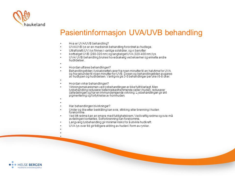 Pasientinformasjon UVA/UVB behandling
