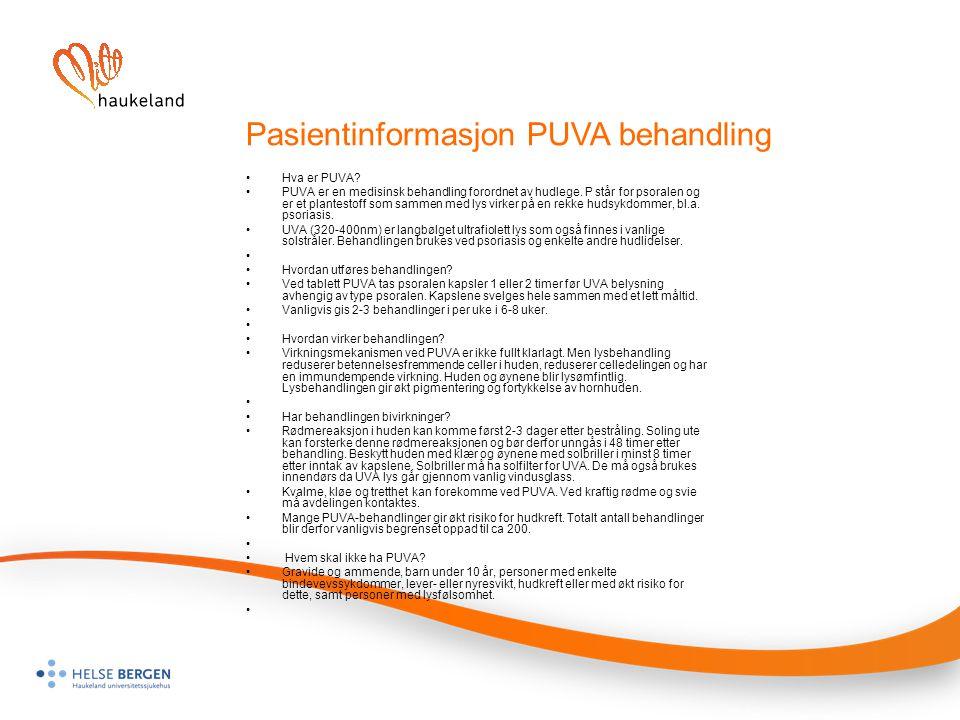 Pasientinformasjon PUVA behandling