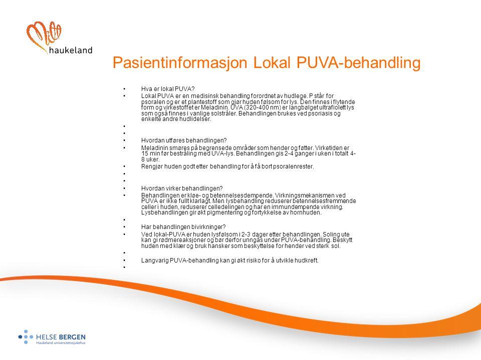 Pasientinformasjon Lokal PUVA-behandling
