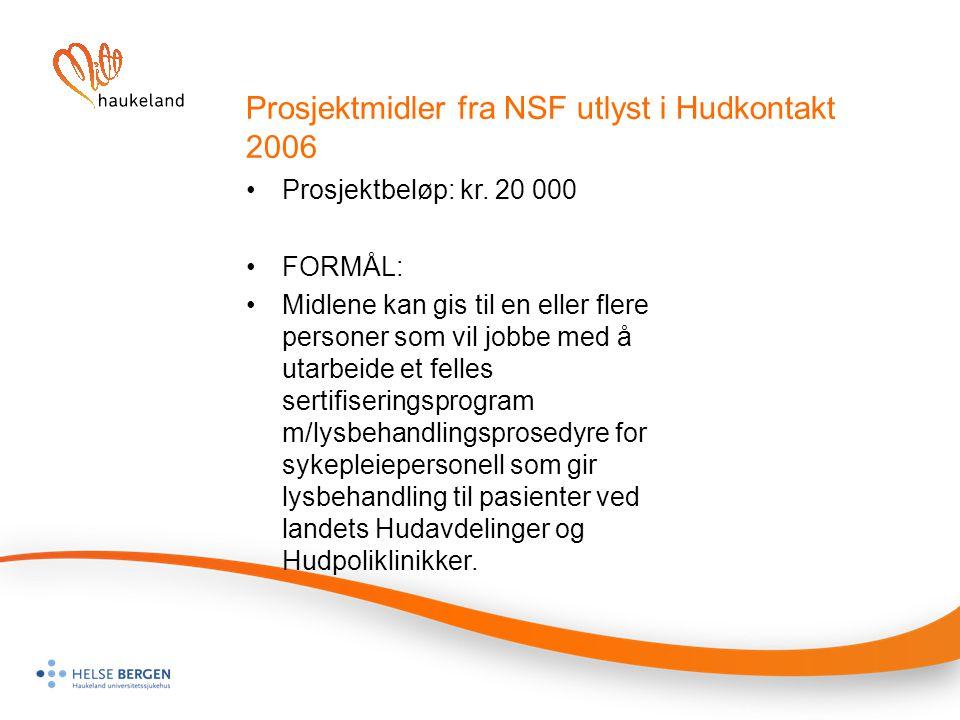 Prosjektmidler fra NSF utlyst i Hudkontakt 2006
