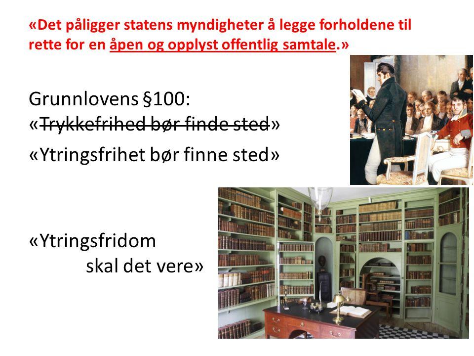 Grunnlovens §100: «Trykkefrihed bør finde sted»