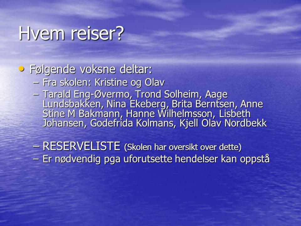 Hvem reiser Følgende voksne deltar: