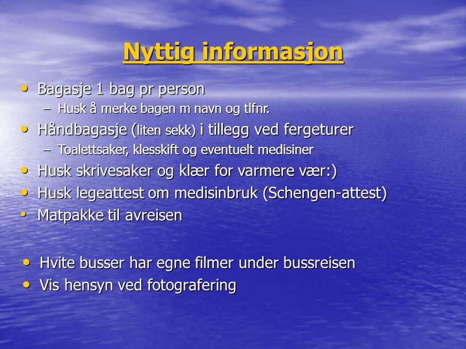 Nyttig informasjon Bagasje 1 bag pr person