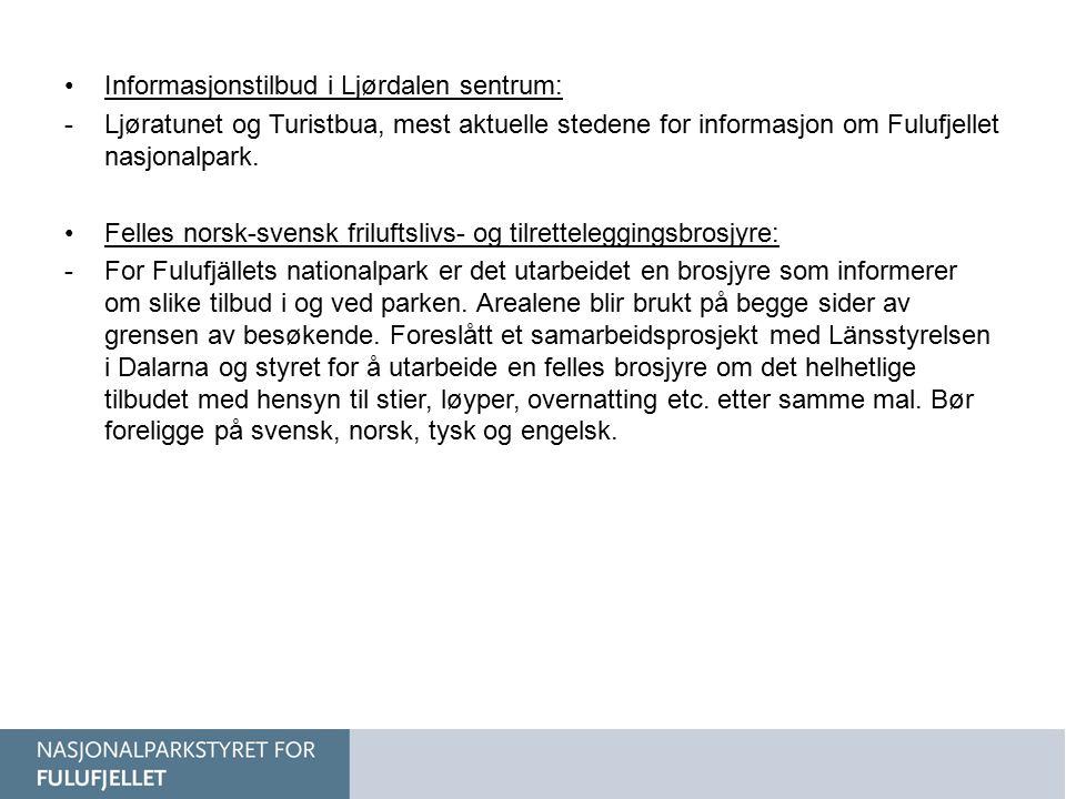 Informasjonstilbud i Ljørdalen sentrum: