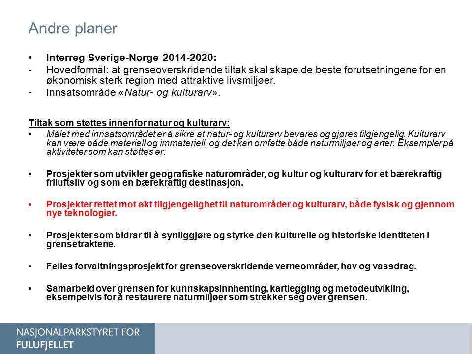 Andre planer Interreg Sverige-Norge 2014-2020: