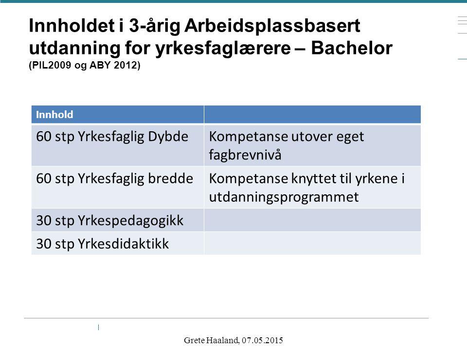 Innholdet i 3-årig Arbeidsplassbasert utdanning for yrkesfaglærere – Bachelor (PIL2009 og ABY 2012)