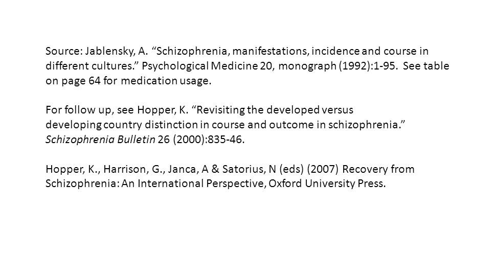 Source: Jablensky, A. Schizophrenia, manifestations, incidence and course in different cultures. Psychological Medicine 20, monograph (1992):1-95. See table on page 64 for medication usage.